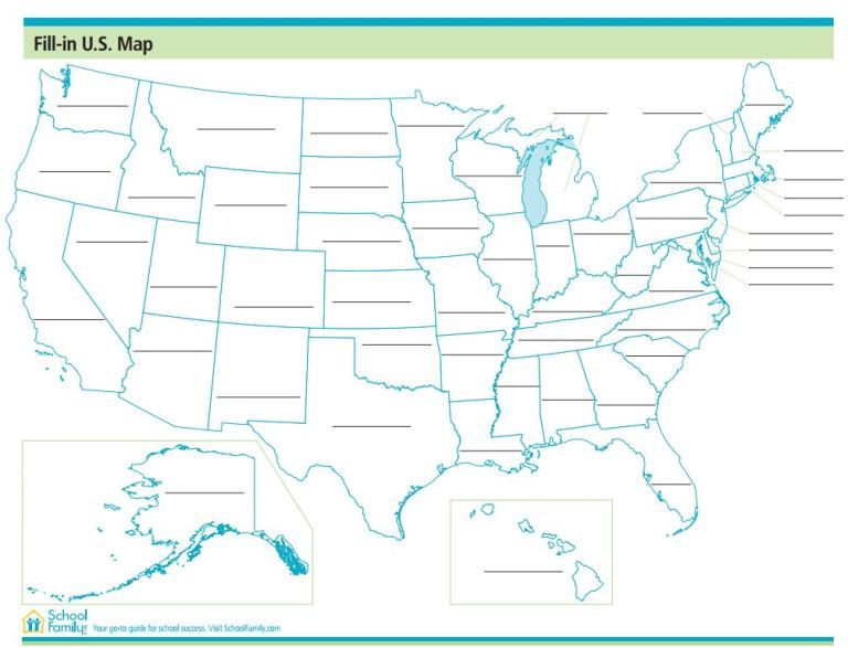 Help Your Child Learn The States In The United States Of America With This Practice Map