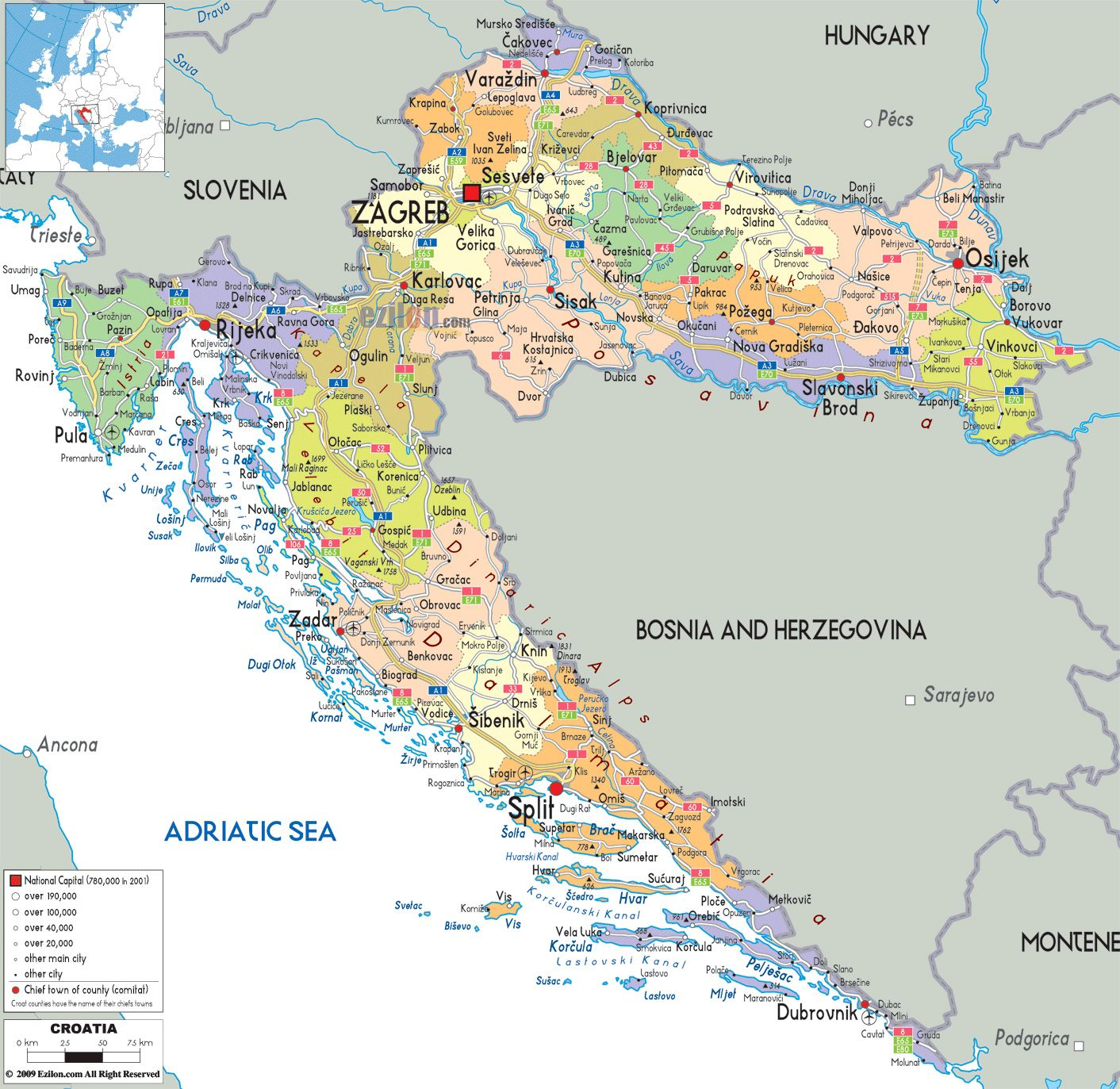Croatia Towns And Administrative Map Of Croatia With Roads