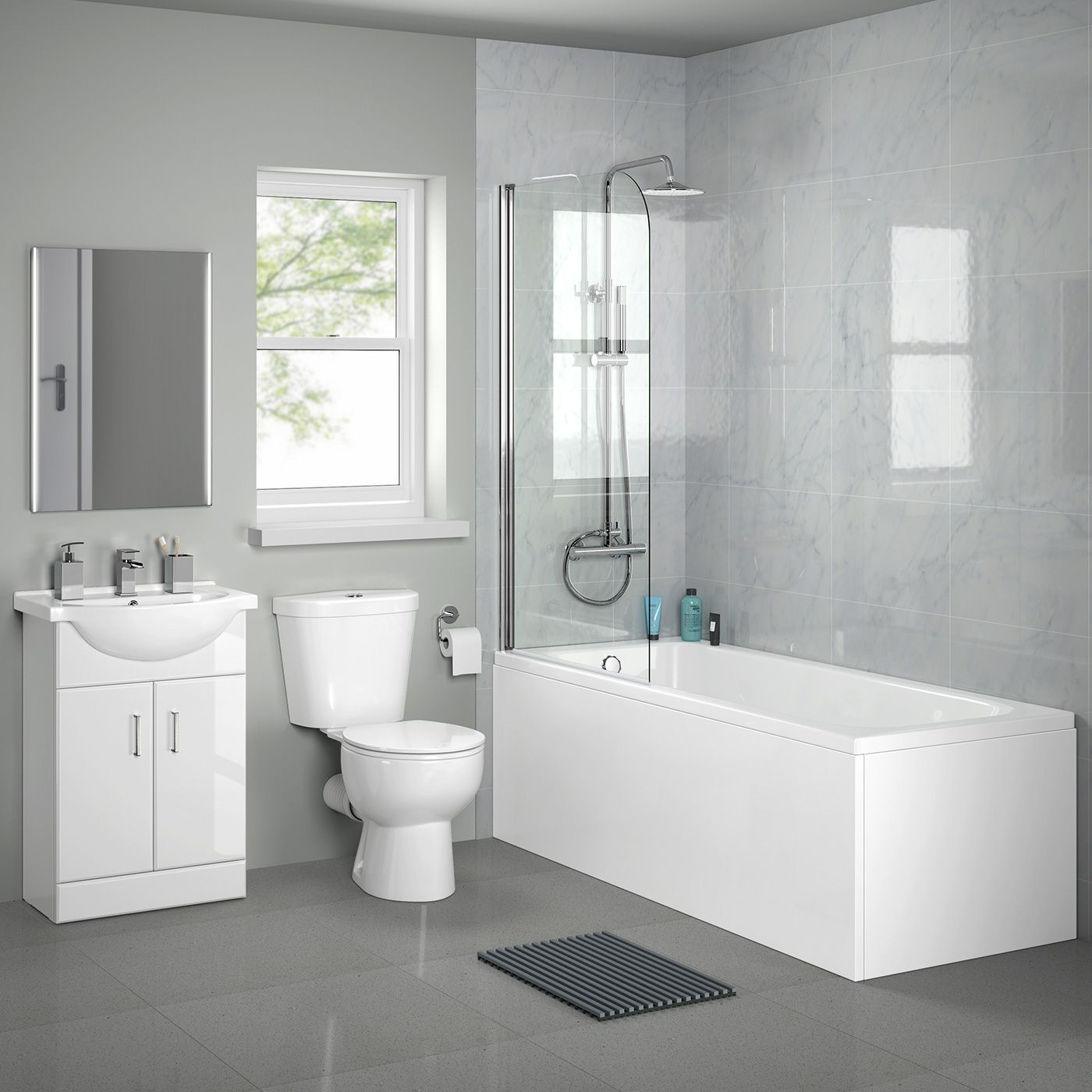 Basic range family bathroom suite with vanity unit to avoid need for ...
