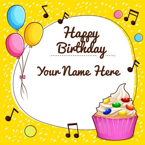 Happy Birthday Cupcake Designer Greeting With Name Name Birthday