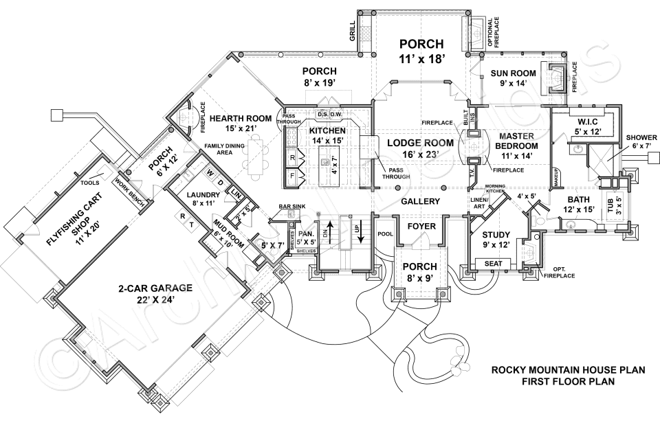 Rocky Mountain Lodge House Plan Rocky Mountain Lodge House Plan Archival Designs First Floor Plan Mountain Lodge Rustic House Plans Mountain House Plans