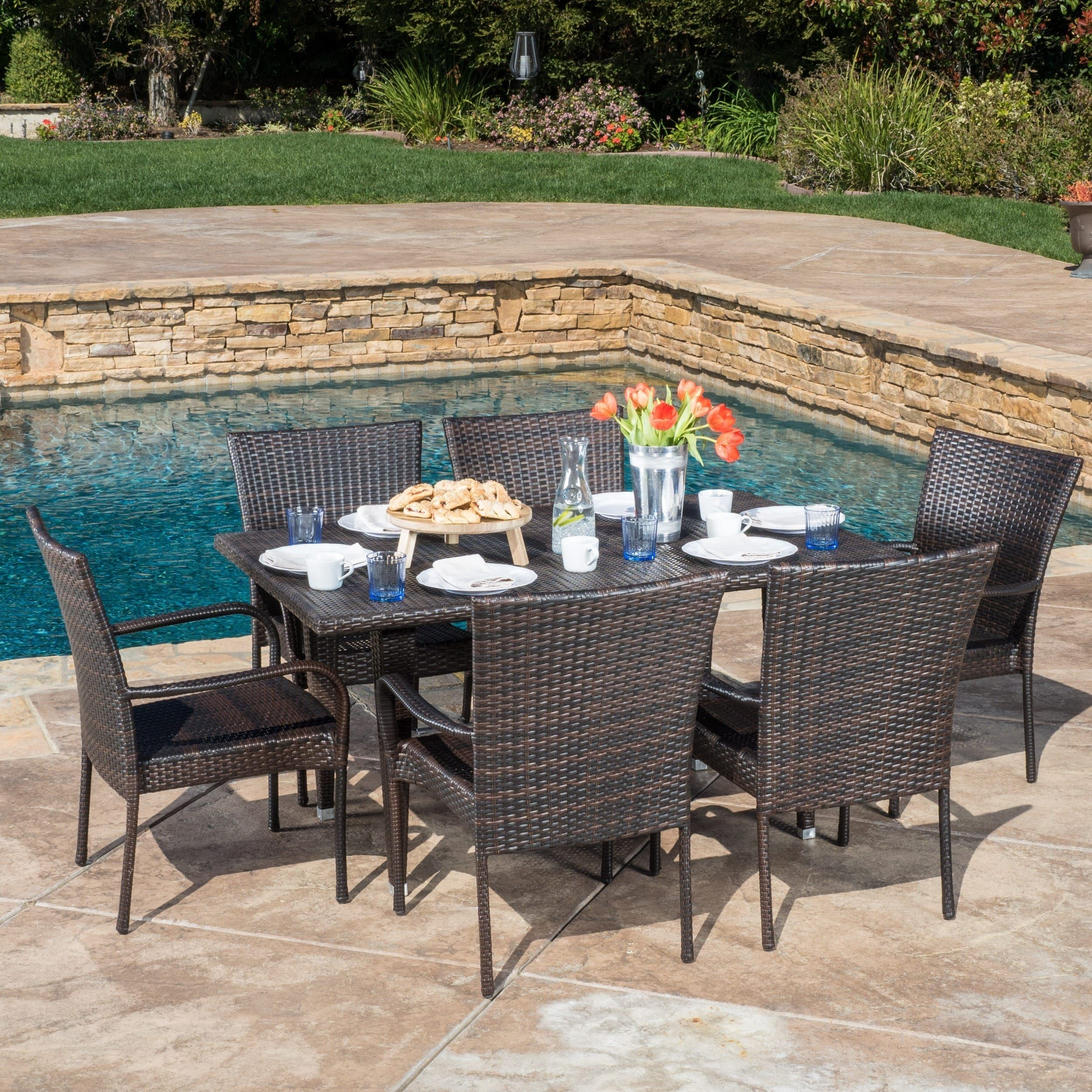 Outdoor Delani 7 piece Wicker Dining Set by Christopher Knight