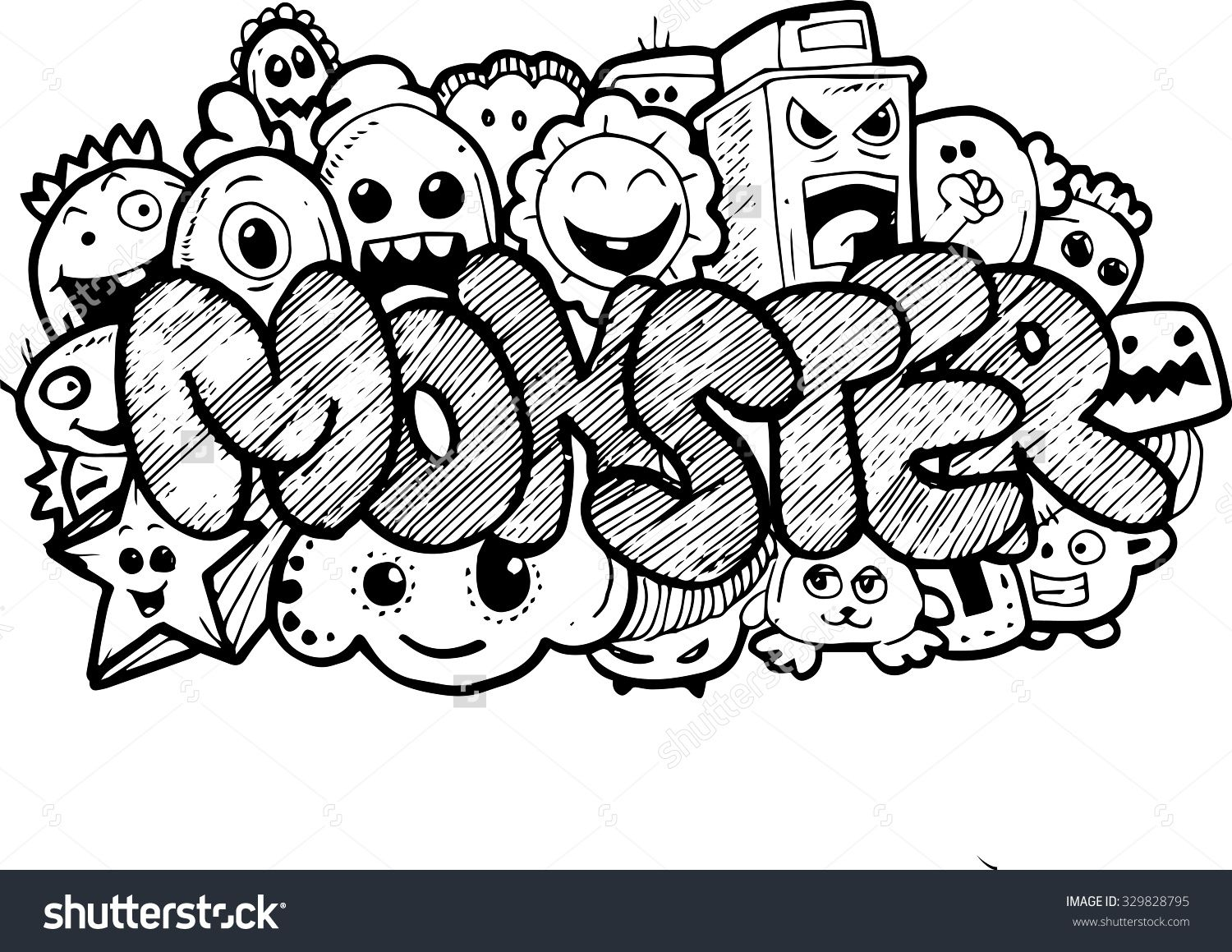 monster cartoon handdrawn doodle stock illustration