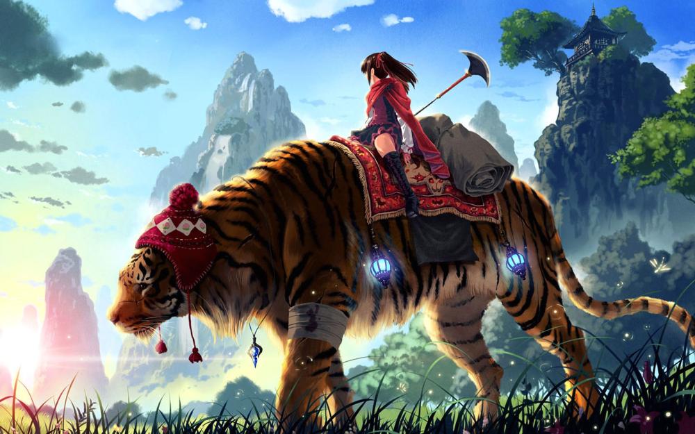 Anime Original Girl Tiger Weapon Hat Sunlight Mountain Bandage Skirt Brown Hair Cape Necklace Boots Animal Hd Anime Wallpapers Anime Wallpaper Tiger Wallpaper