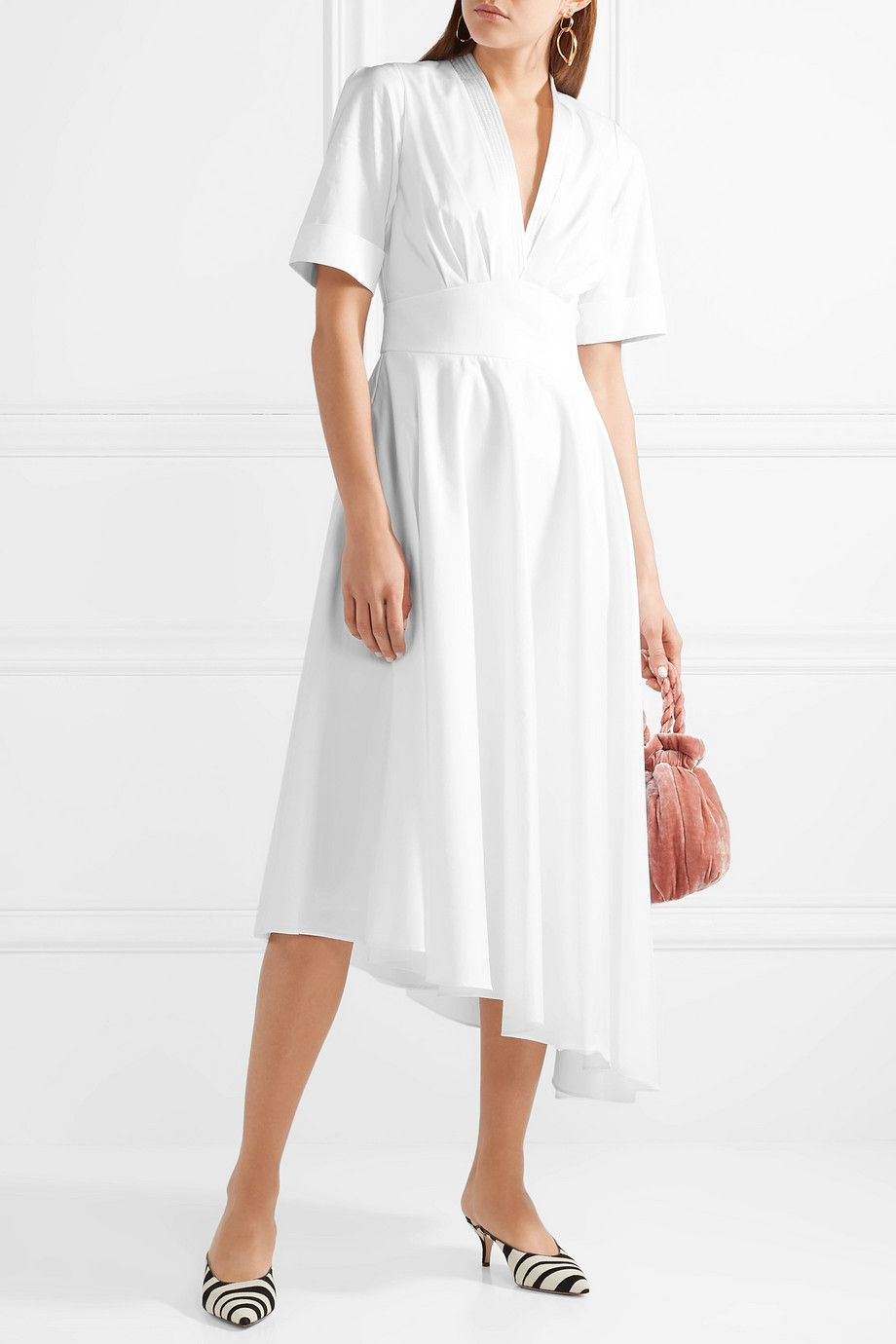 Asymmetric Gathered Cotton-poplin Midi Dress - White Adam Lippes StJOQPia