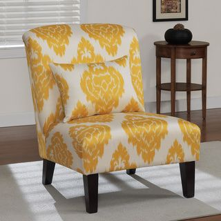 Living Room    Anna Yellow Ikat Accent Chair