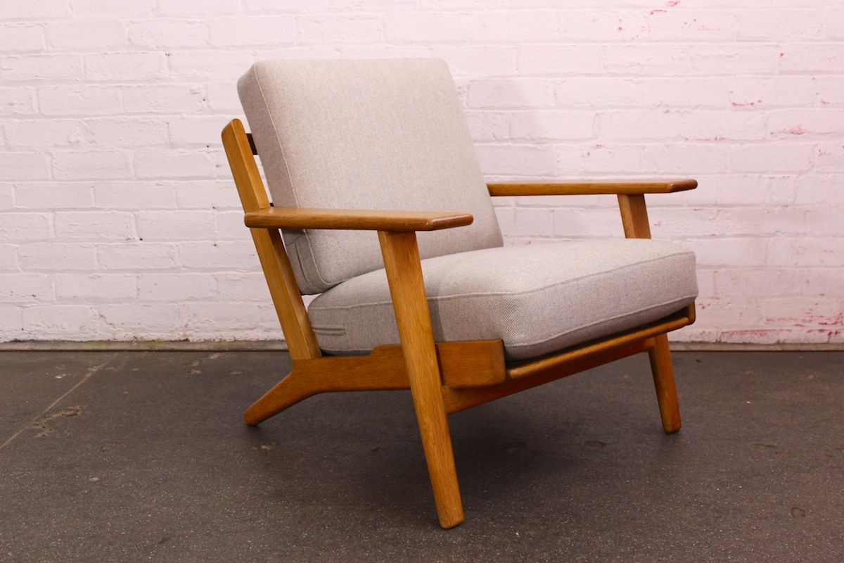 hans wegner oak plank lounge chair model ge 290 getama