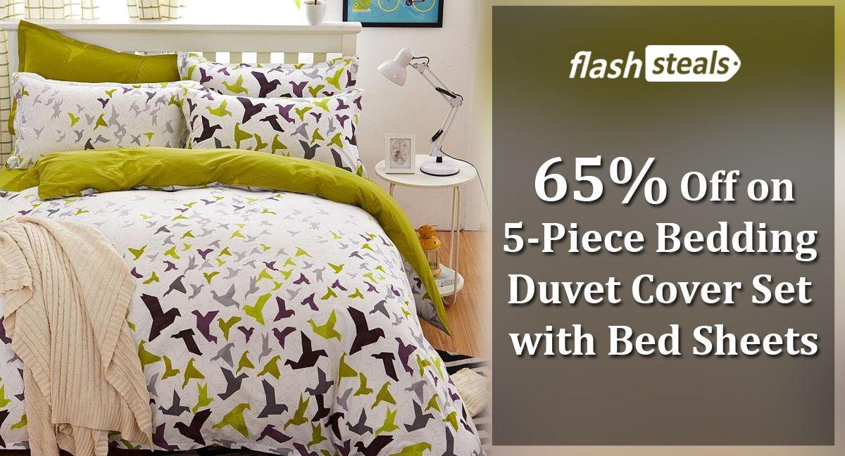 FlashSteals 65 Off On 5Piece Bedding Duvet Cover Sets