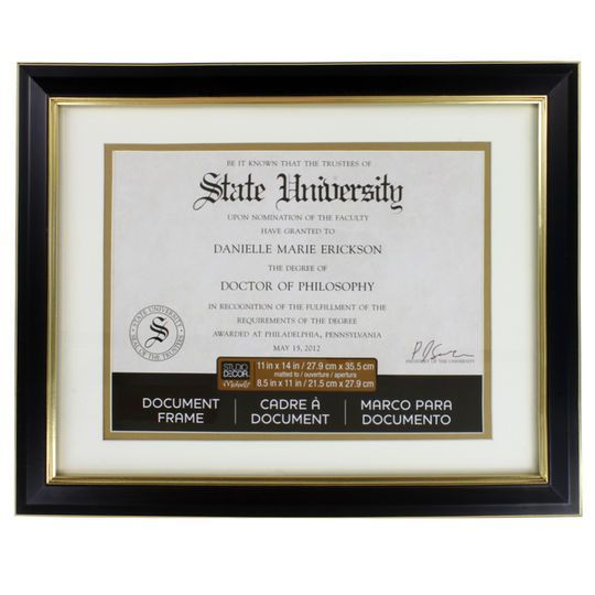 Black Gold 8 5 X 11 Document Frame With Mat By Studio Decor Document Frame Studio Decor Diploma Display