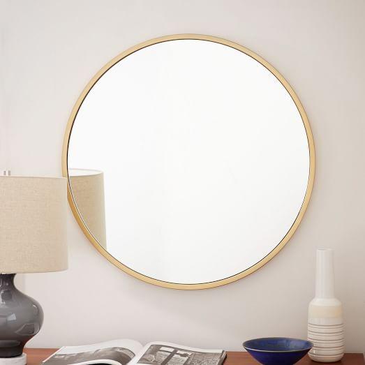 Metal Framed Round Wall Mirror Antique Brass 249 30