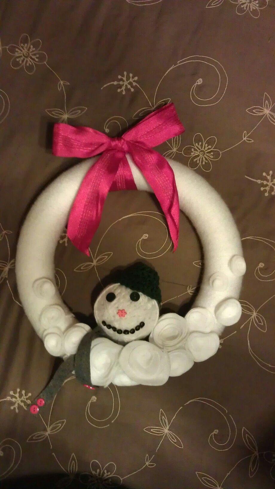 Melting snowman wreath
