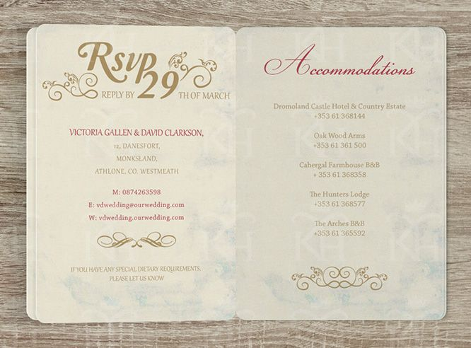 Wedding Invite Information: Inside RSVP Page And Accommodations