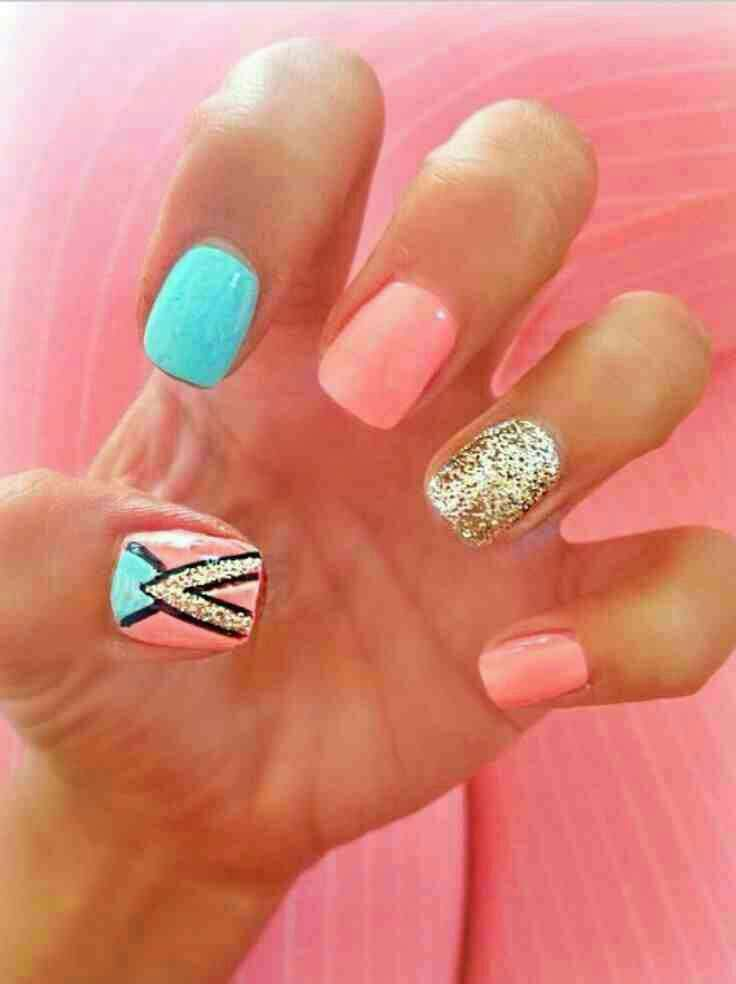 Love These Coral And Blue Spring Nails Cute Nails Aztec Nails Toe Nails
