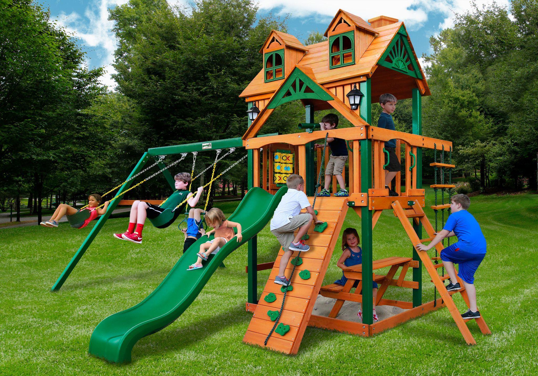 Gorilla playsets chateau wmalibu wood roof swing set wooden