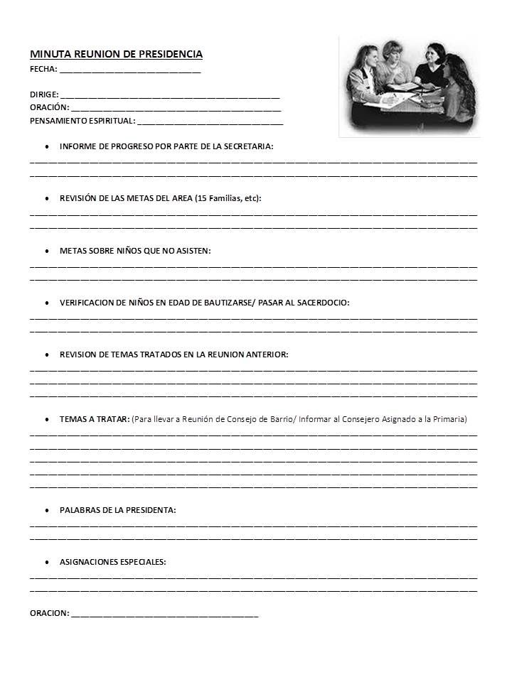 MINUTA REUNIÓN DE PRESIDENCIA PRIMARIA | KIDS,PRIMARY LDS ...