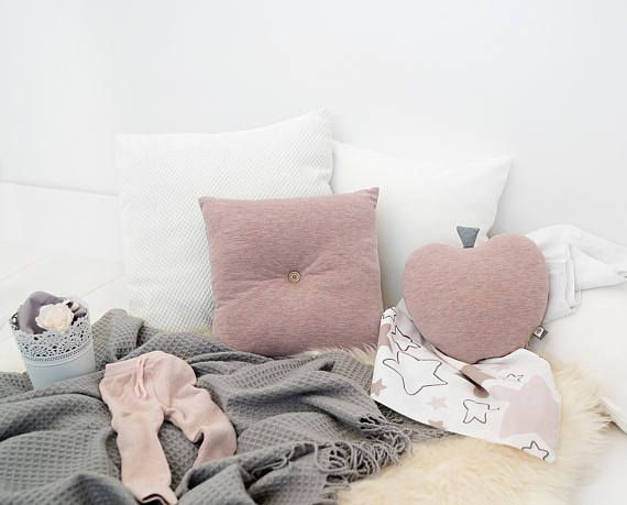 Tufted Kids Pillow - Blush Grey Nursery - Kids Floor Pillow - Blush ...