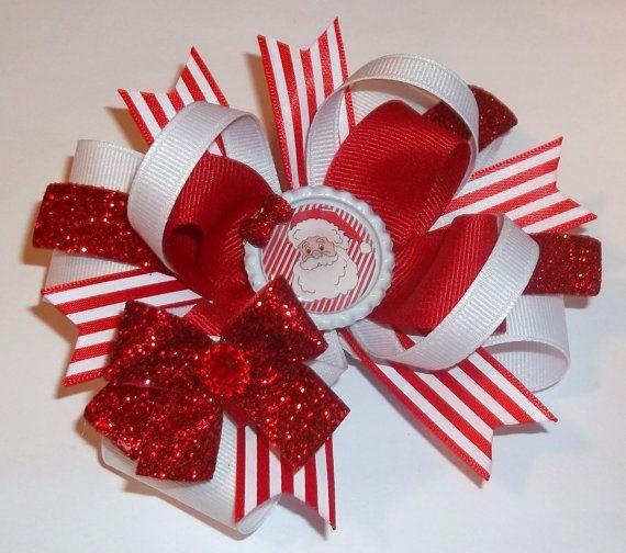 990d25e9ea7 Santa Christmas Handmade Boutique Hair Bow - Girls Hair Bow