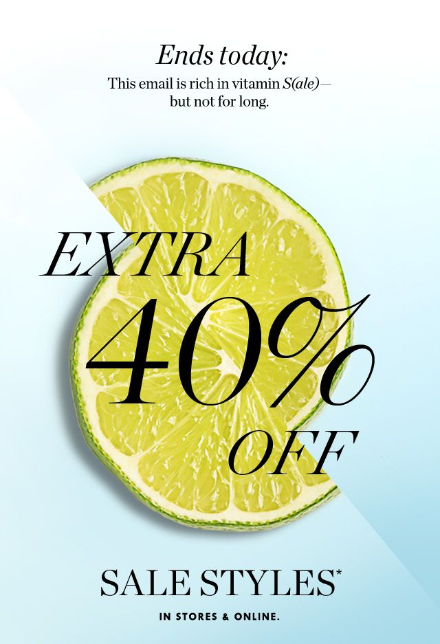 J.Crew: Don't forget your vitamin S(ale)! Extra 40%-50% off sale styles ends today.   Milled