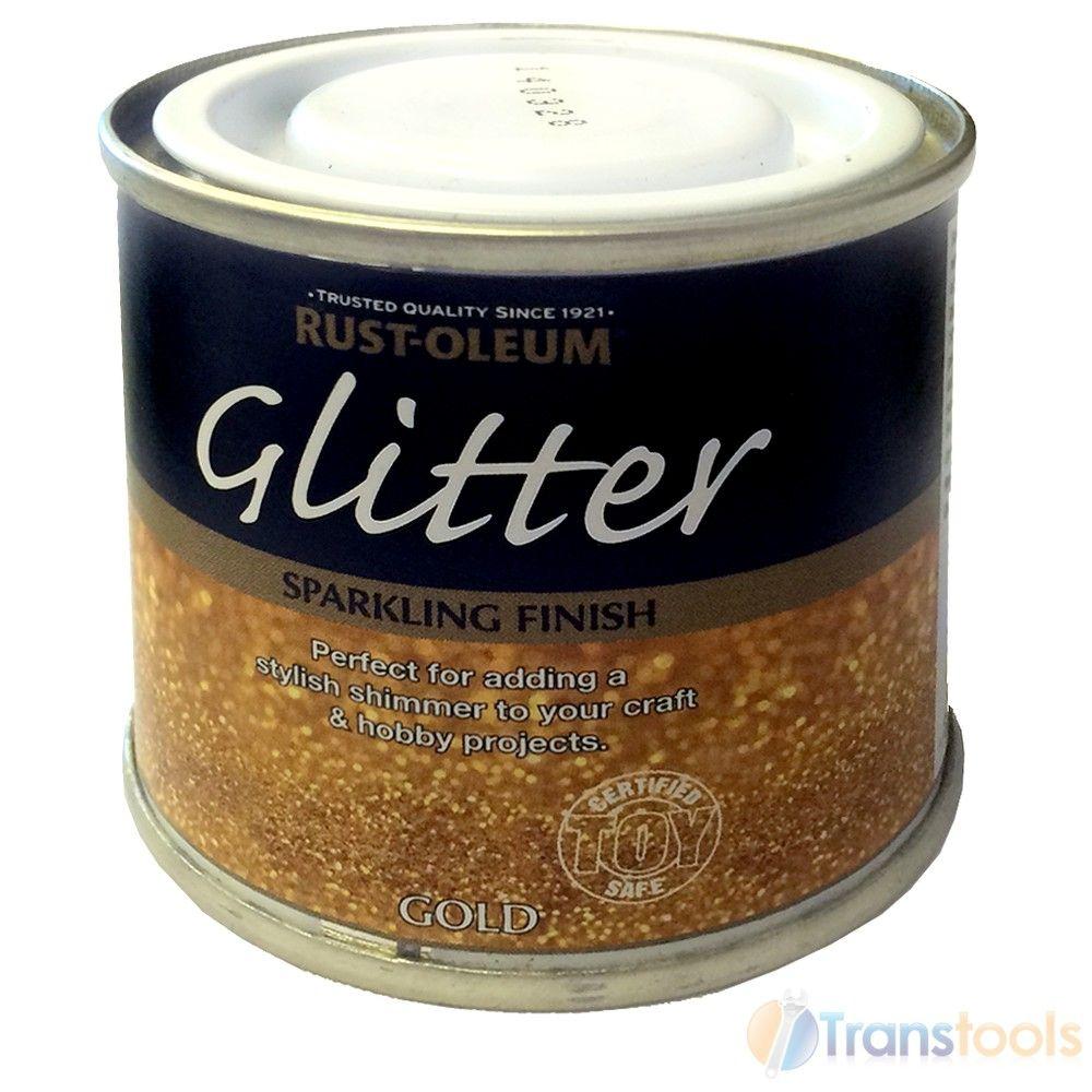 Rust Oleum Glitter Brush Paint Gold Sparkling Finish 125ml Toy Safe Hobby Craft Glitter Paint For Walls Glitter Furniture Glitter Wall