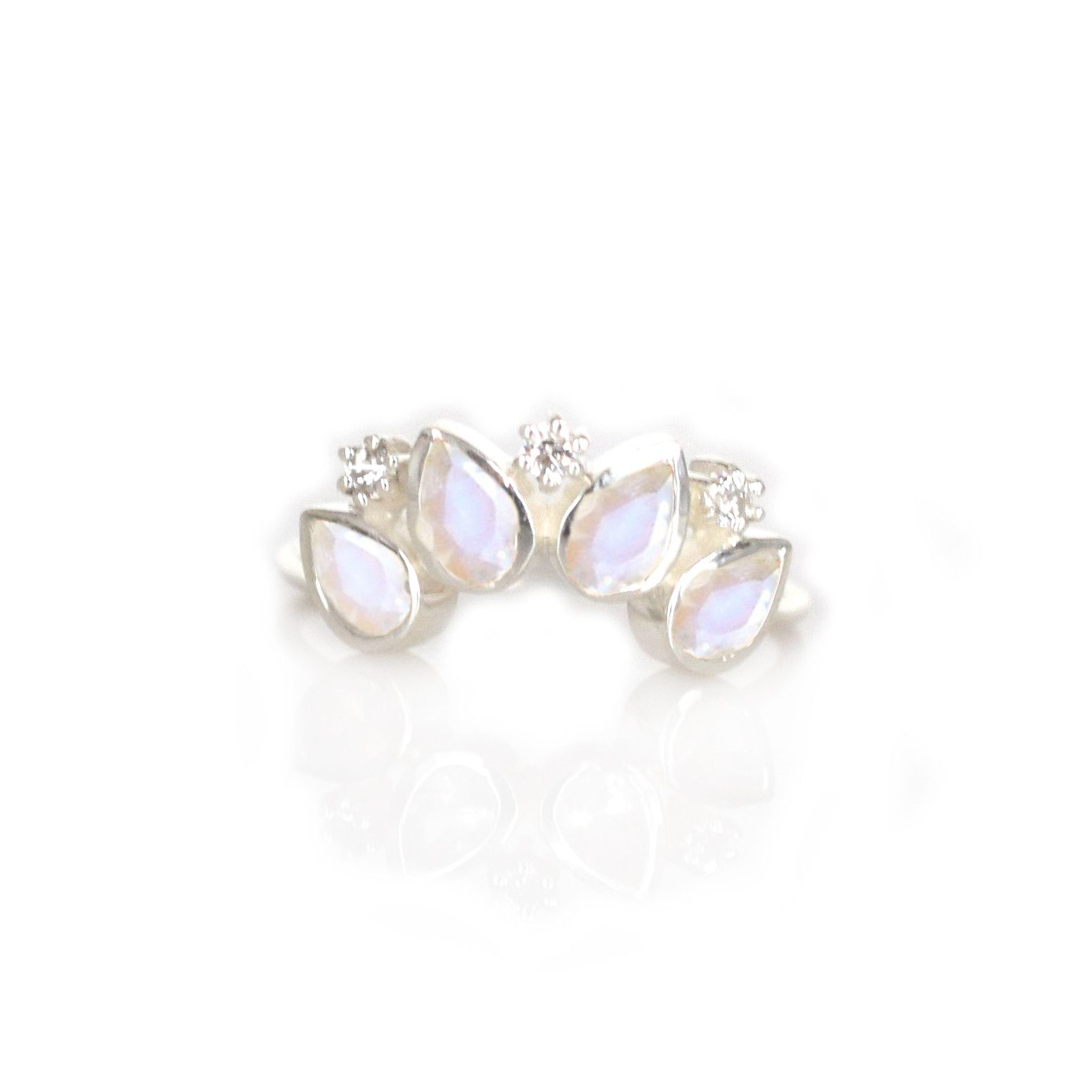 Silver rainbow moonstone and diamond horizon ring rainbow