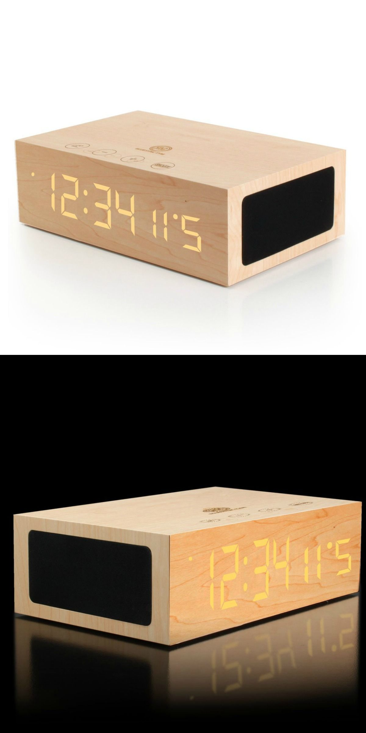 Wireless Bluetooth Speaker Wooden Rustic Alarm Clock Things You Need For College Cute Modern
