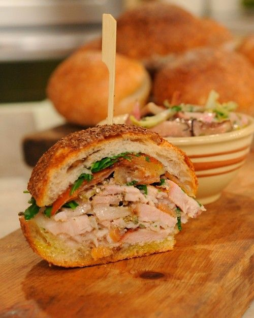"""Porchetta Sandwich from Chef Justin Smillie... (open the recipe page and ckick on the word """"porchetta"""" for its recipe)"""