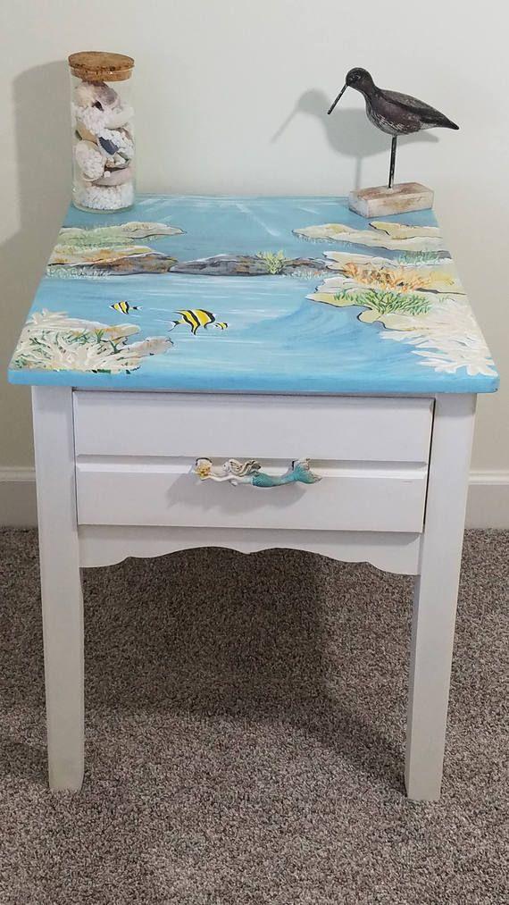 Best Hand Painted Coastal Beach End Table Coastal Side Table 400 x 300