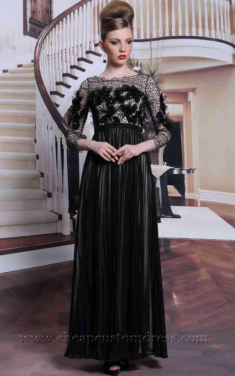 Black elegant flower lace length sleeves prom evening dress