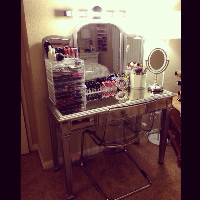 My vanity set up vanity lights from ikea vanity from - Vanities for bedrooms with lights ...