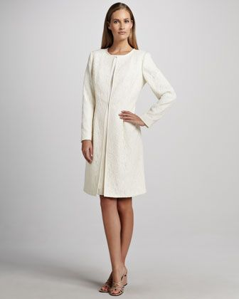 Jacquard Coat over Satin Sheath Dress by Albert Nipon at Neiman ...