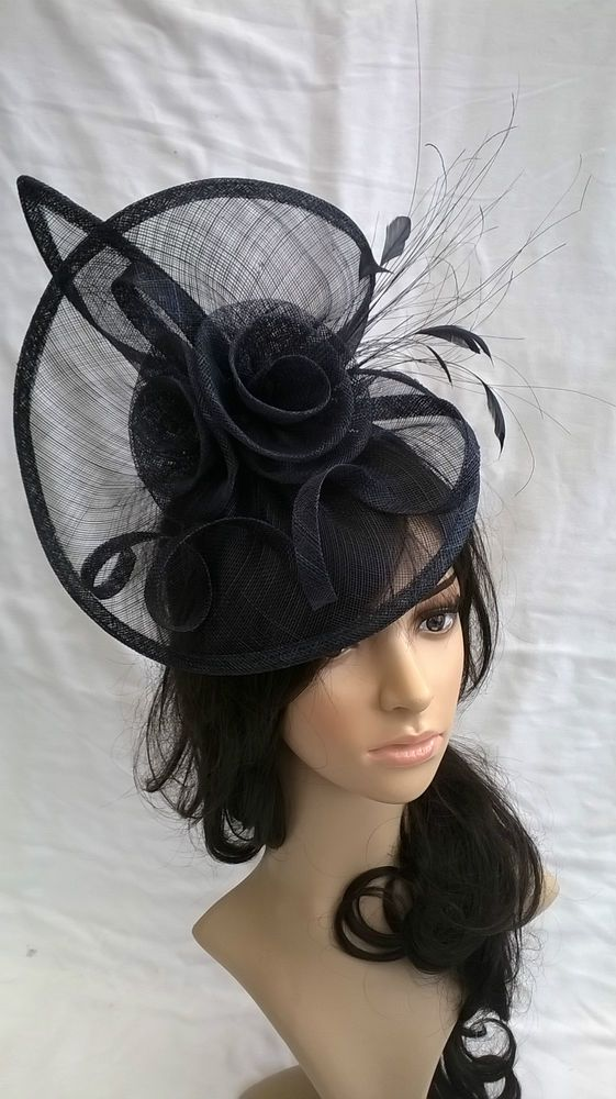 New Navy Sinamay Feather Fascinator Hat Disc Style Wedding Races