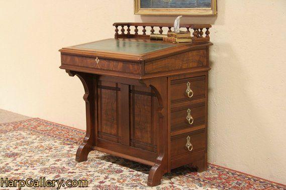 SOLD - Eastlake 1870 Antique Davenport Ship Captain Desk - Harp Gallery Antique Furniture