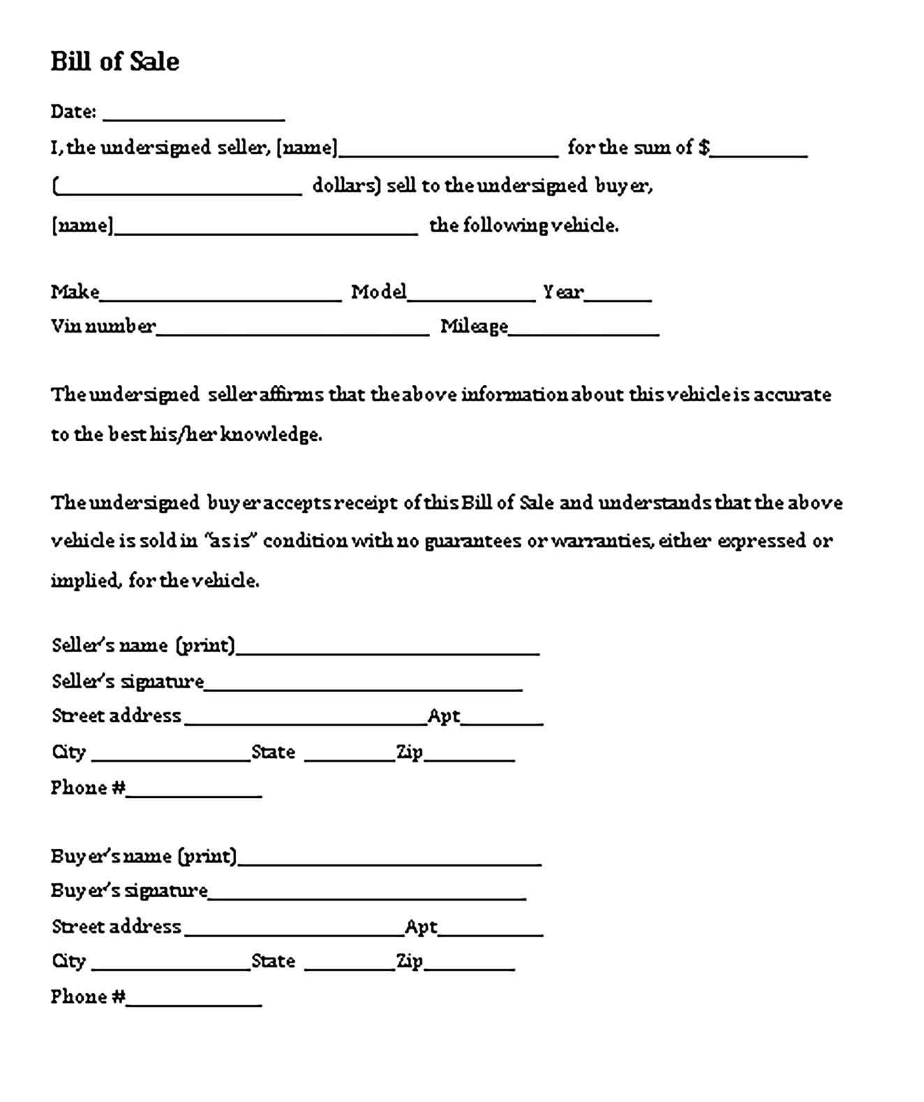 Printable Automobile Bill Of Sale Bill Of Sale Template Bill Of Sale Car Business Template