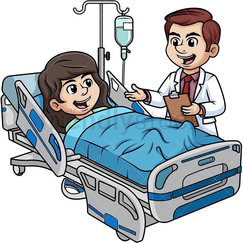 Hospitalized Woman Talking To Doctor Medical clip art