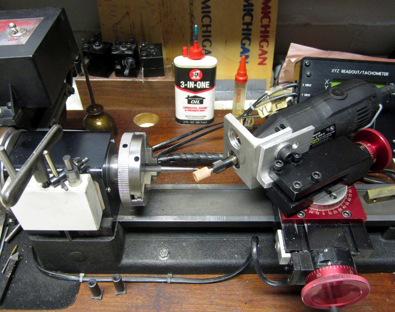 Dremel holder mounted onto a Sherline compound slide.