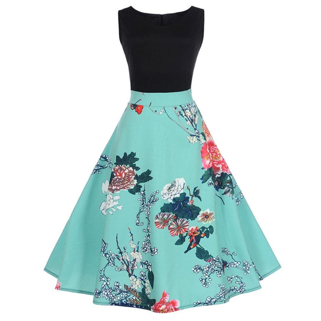 HHei_K Women Vintage Patchwork Dress Ladies Fashion Floral Print ...