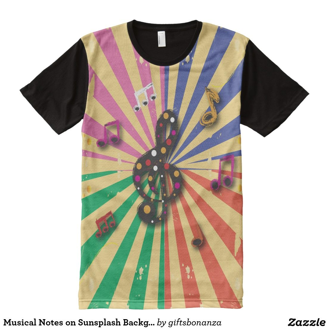 671569712 #Musical Notes on Sunsplash Background All Over Print Shirt @giftsbonanza