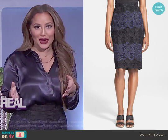 e22e30b8ea539c Adrienne s black and blue lace skirt on The Real. Outfit Details  https
