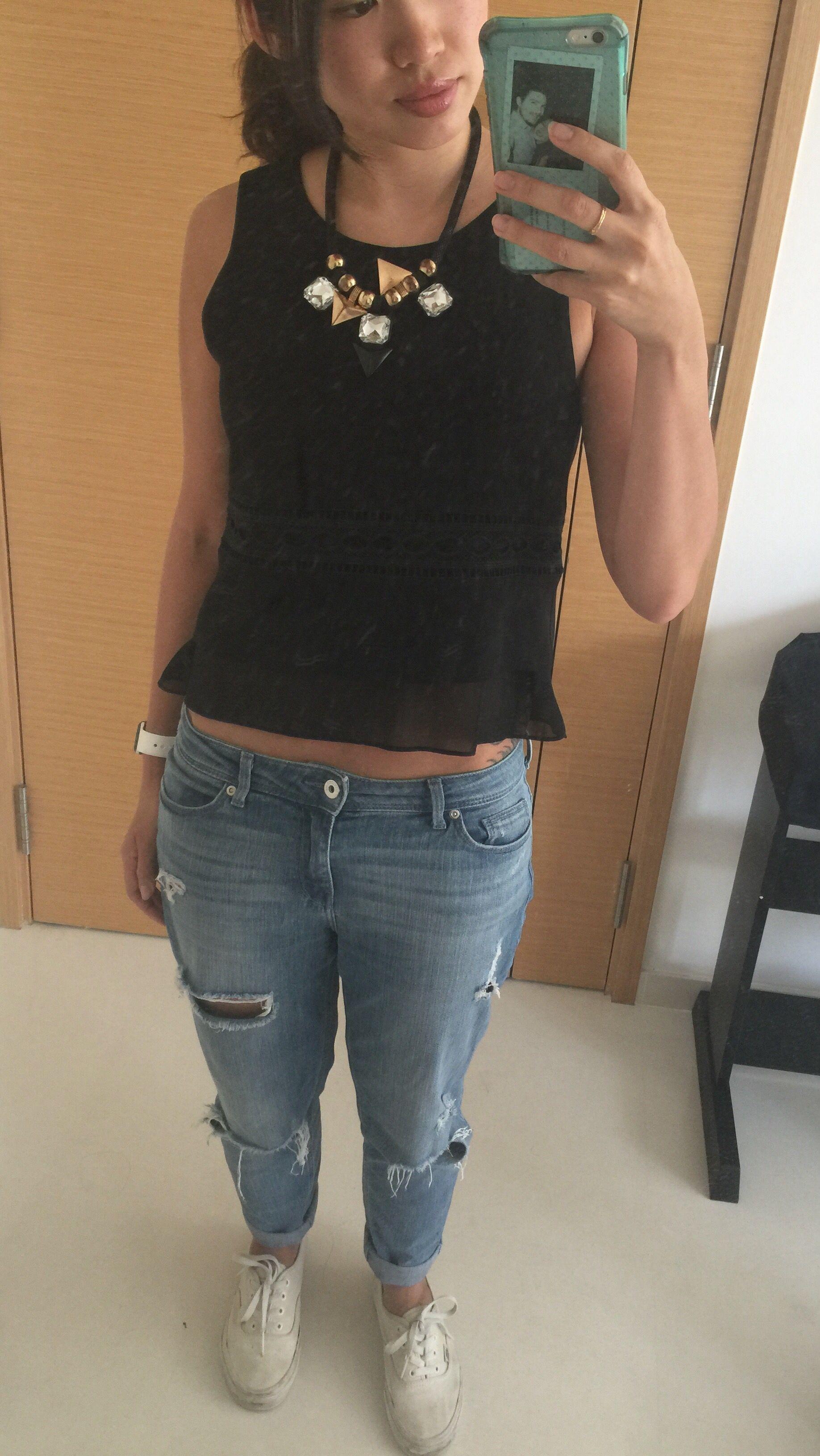 Day 22: Club Monaco top, BF jeans, dirty Vans!