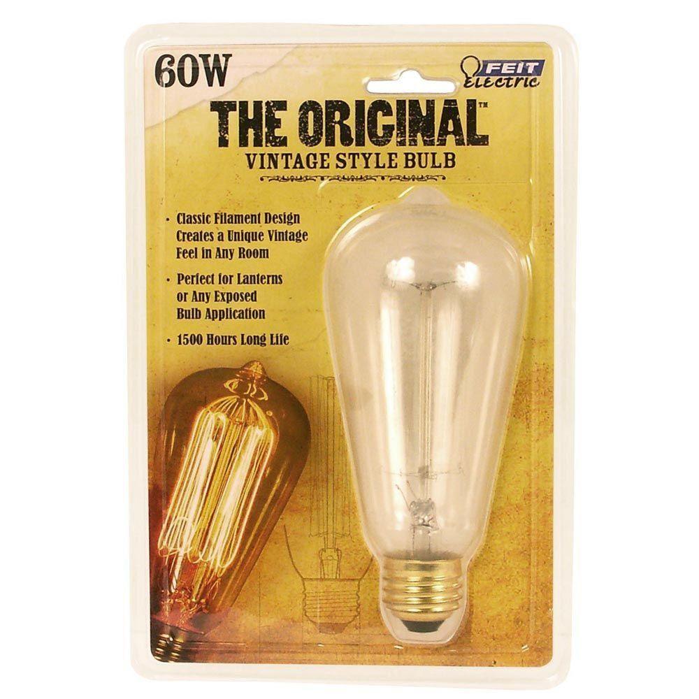Feit Electric 60 Watt Soft White St19 Incandescent Original Vintage Style Light Bulb