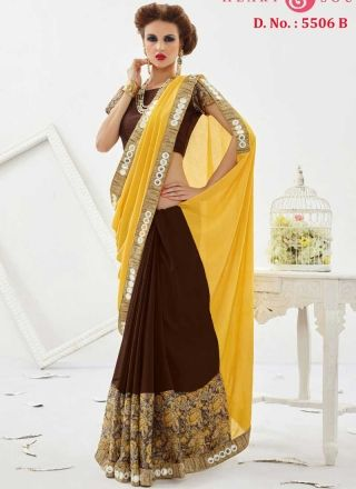 3053d2ac20626e Blooming Yellow And Brown Georgette Half N Half Saree At Fiji http://www