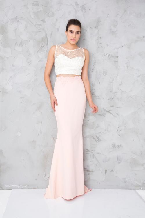 Pudra Beyaz Iki Parca Uzun Abiye Elbise Fotograf Elbise Elbise Modelleri Moda