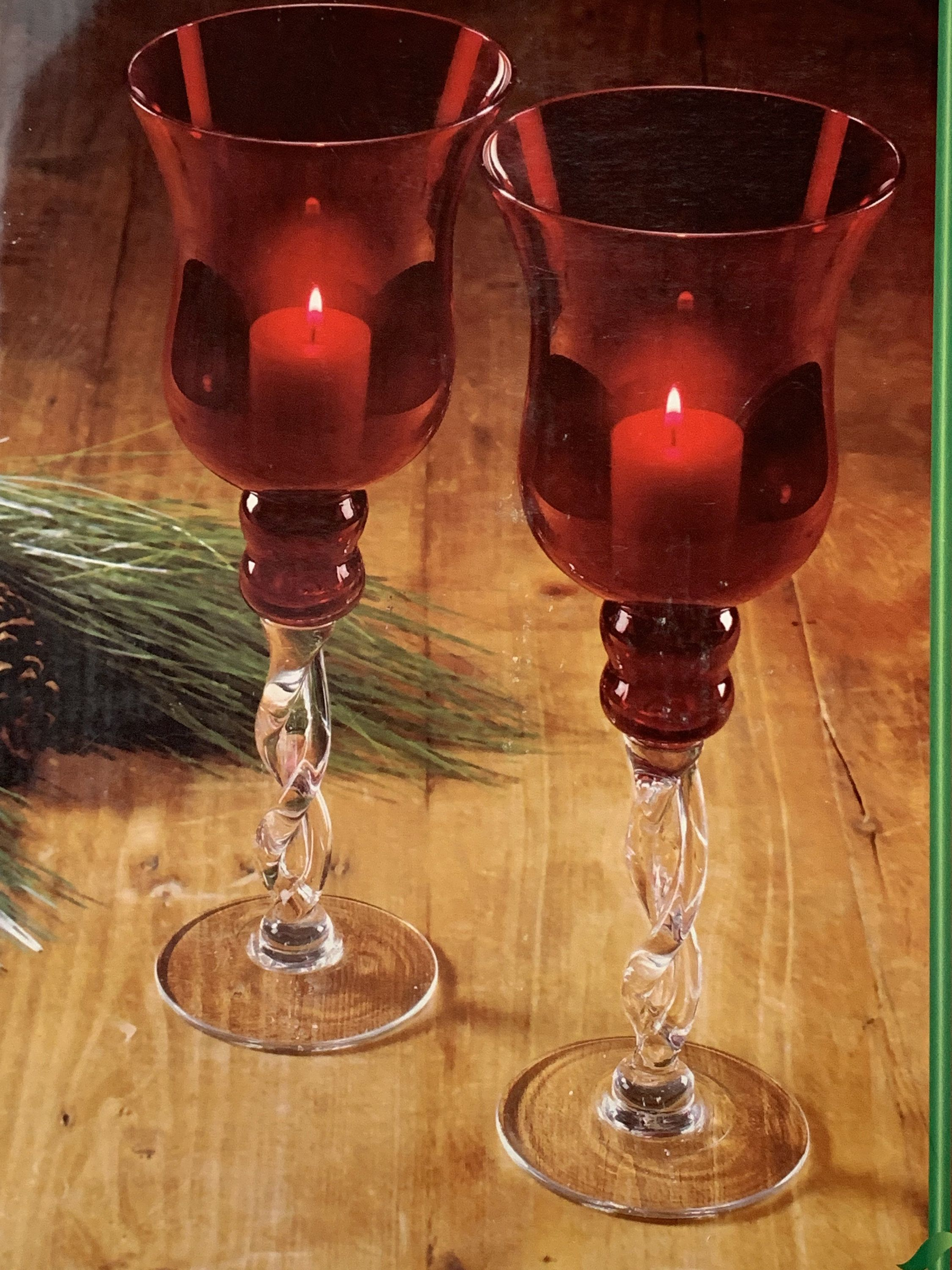 Vintage Red Glass Candlesticks Set Of Two Candle Holders Transparent Glass Twisted Stem Tall Candlelights Big Ruby Candlesticks In Box In 2020 Glass Candlesticks Candlesticks Candle Holders
