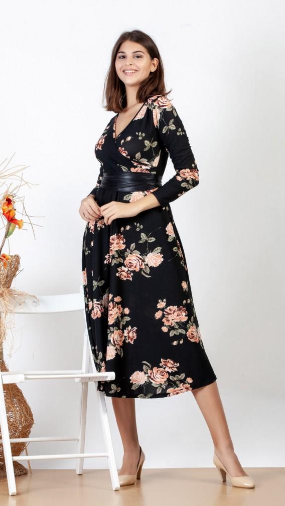 554k119 Cicekli Kisa Kol Midi Elbise Midi Elbise Elbise The Dress