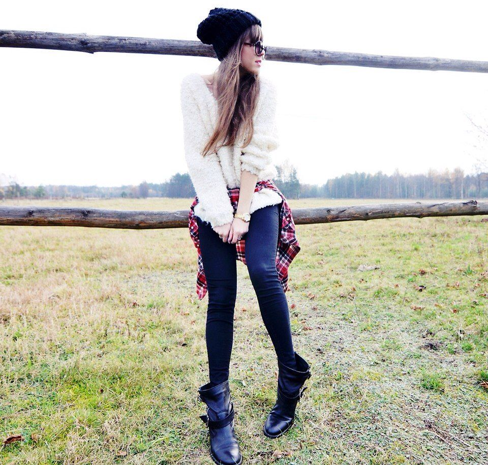 Winter - layering effect - black beanie, dark sunglasses, cream sweater, tied flannel shirt, black jeans, black ankle boots