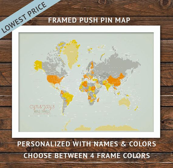 Framed push pin map 20x24 inches world travel honeymoon vacation framed push pin map 20x24 inches world travel honeymoon vacation art gumiabroncs Gallery