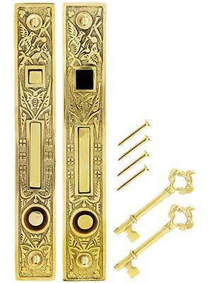 Hummingbird Victorian Pocket Door Lock Latch Set Cast Brass