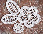 Irish Crochet Flower Leaf PATTERN - Applique Flower Leaf Lace Motifs - Crochet Embellishment - PDF - Step-by-Step Pictures #irishcrochetmotifs