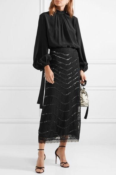 1849052d36fd77 Temperley London - Panther sequined lace midi skirt | Fashion | Lace ...