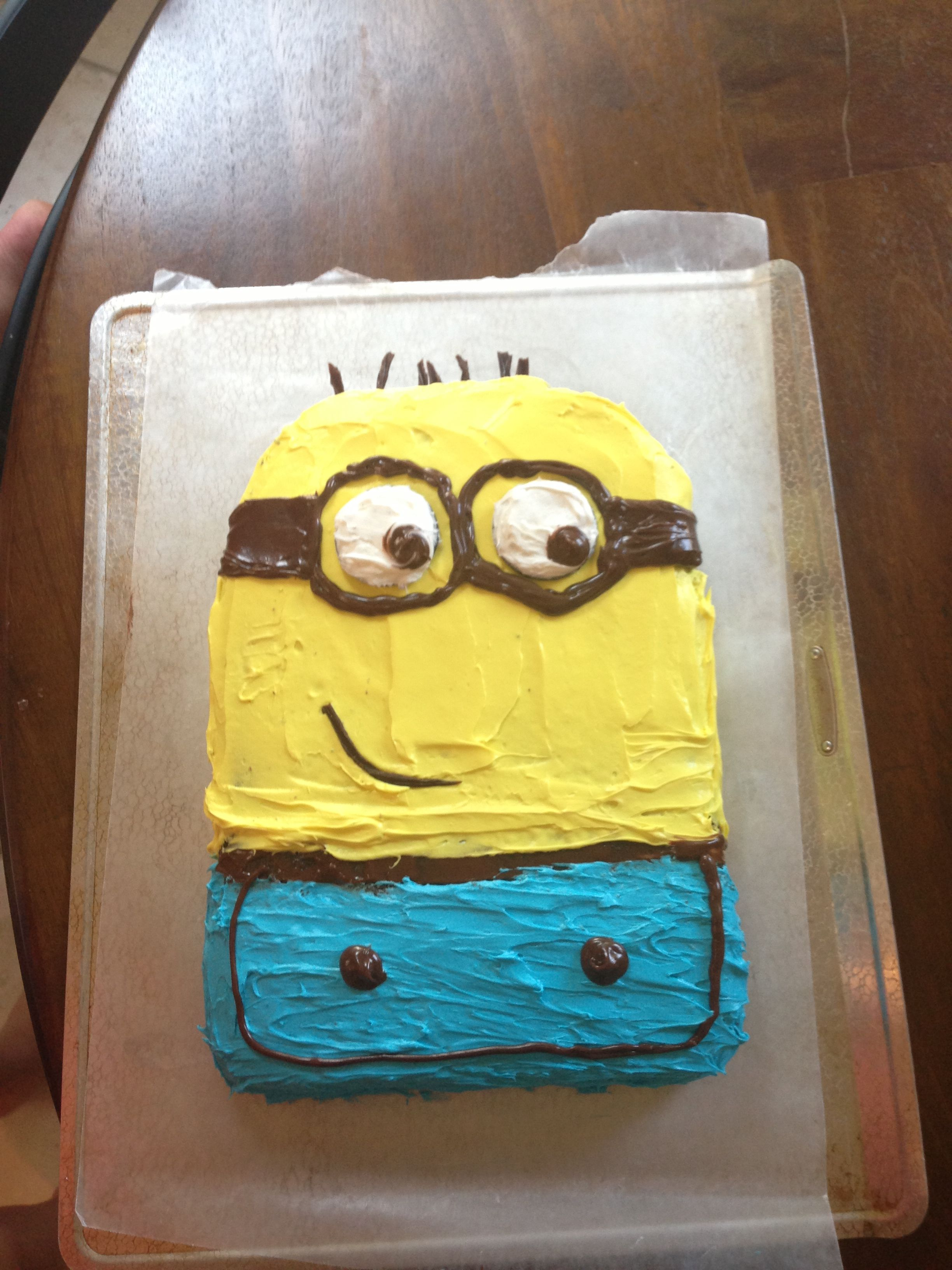 Outstanding Homemade Minion Cake Is Fun And Easy To Do Homemade Birthday Personalised Birthday Cards Paralily Jamesorg